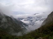clouds starting to fill up the valley