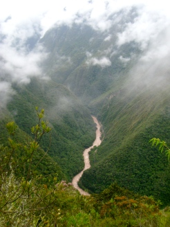 On our way to Machu Picchu, views of the Urubamba River and Valley below