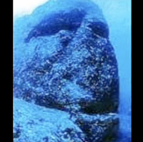 Colossal stone head at Yonaguni ruins