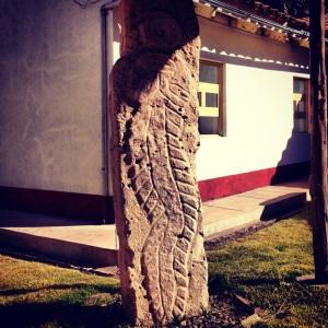 Pre-Colombian stone slab depicting a Reptilian Astronaut